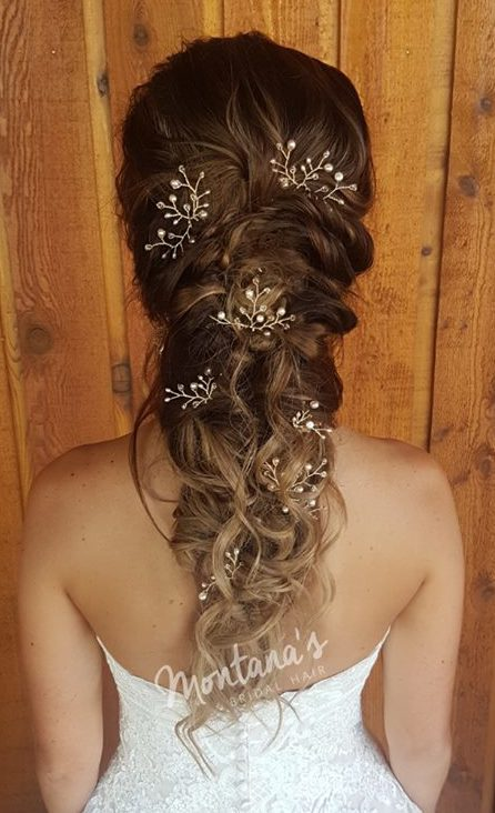 ong bridal hairstyle with rose gold hair pins wedding dress west coast jewelry vancouver