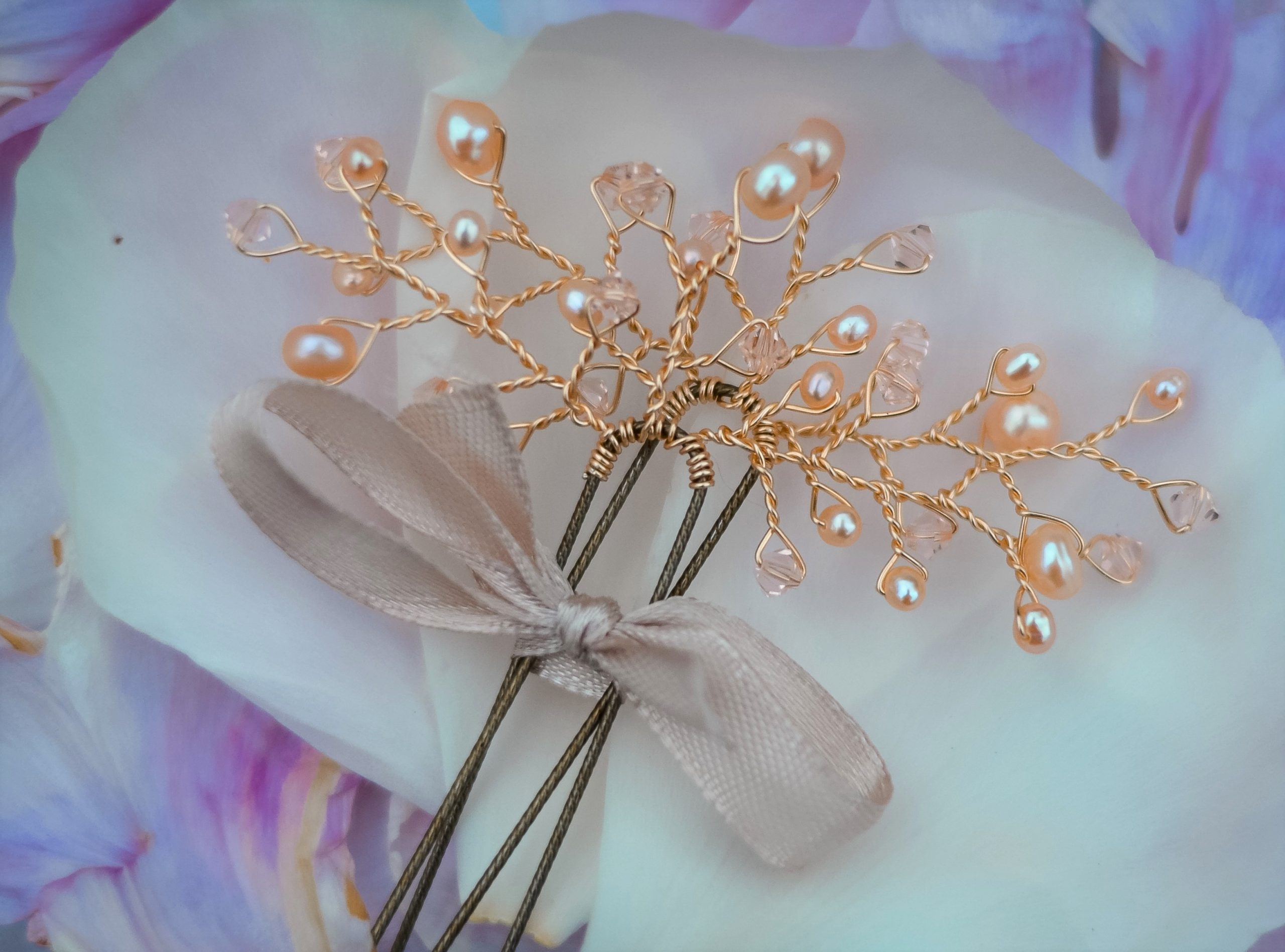 rose gold wedding hair pin