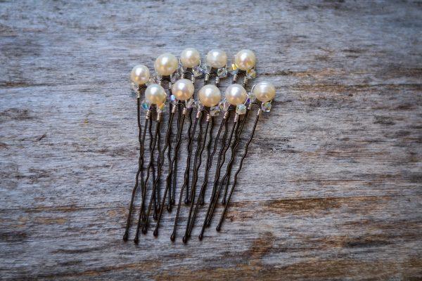 set of 10 simple pearl hair pins