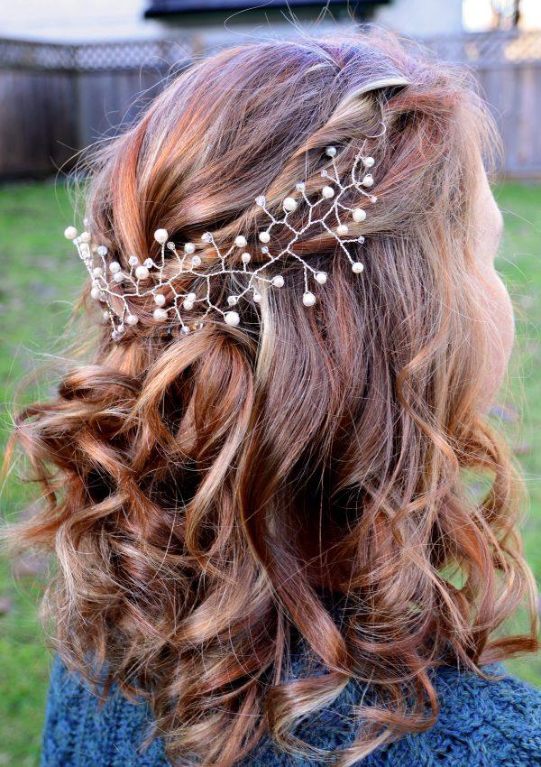 small bridal pearl hair piece