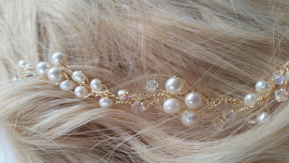 gold wedding hair piece