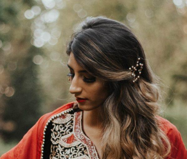 rose gold hair piece indian bride