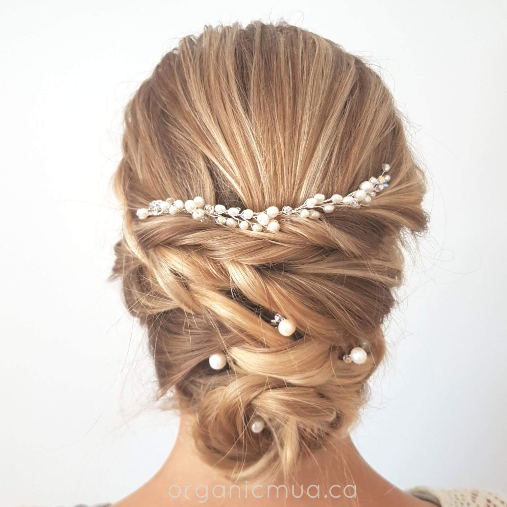 wedding updo blonde hair with pearl hair vine and hair pins by West Coast Jewelry