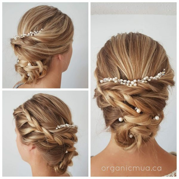 wedding updo blone hair with hair jewelry