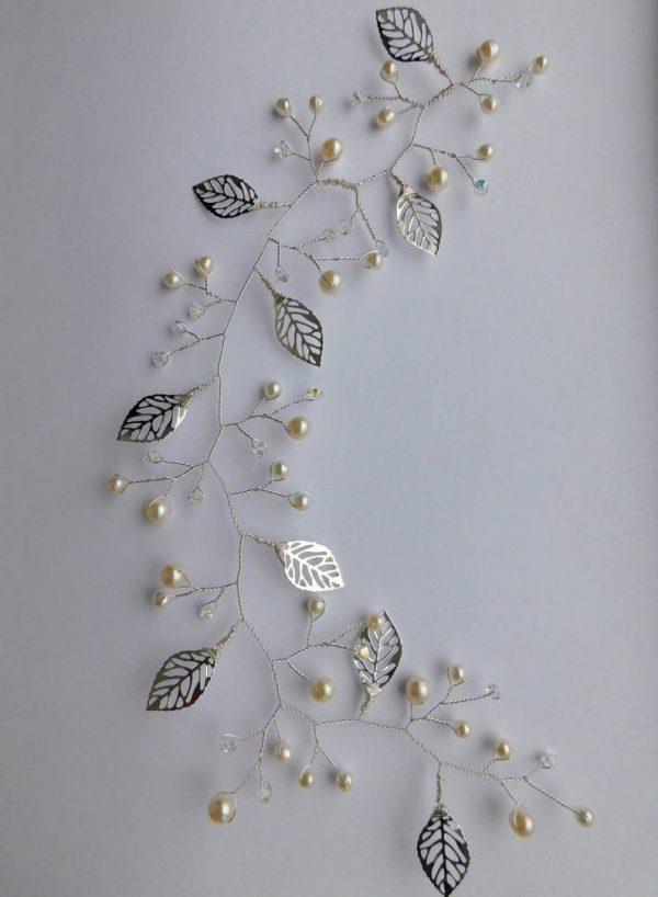 leaves hair vine pearls