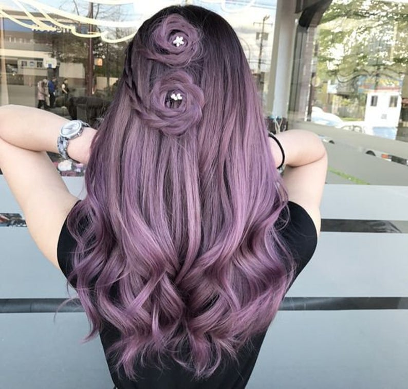 flower hair pins with purple hairstyle