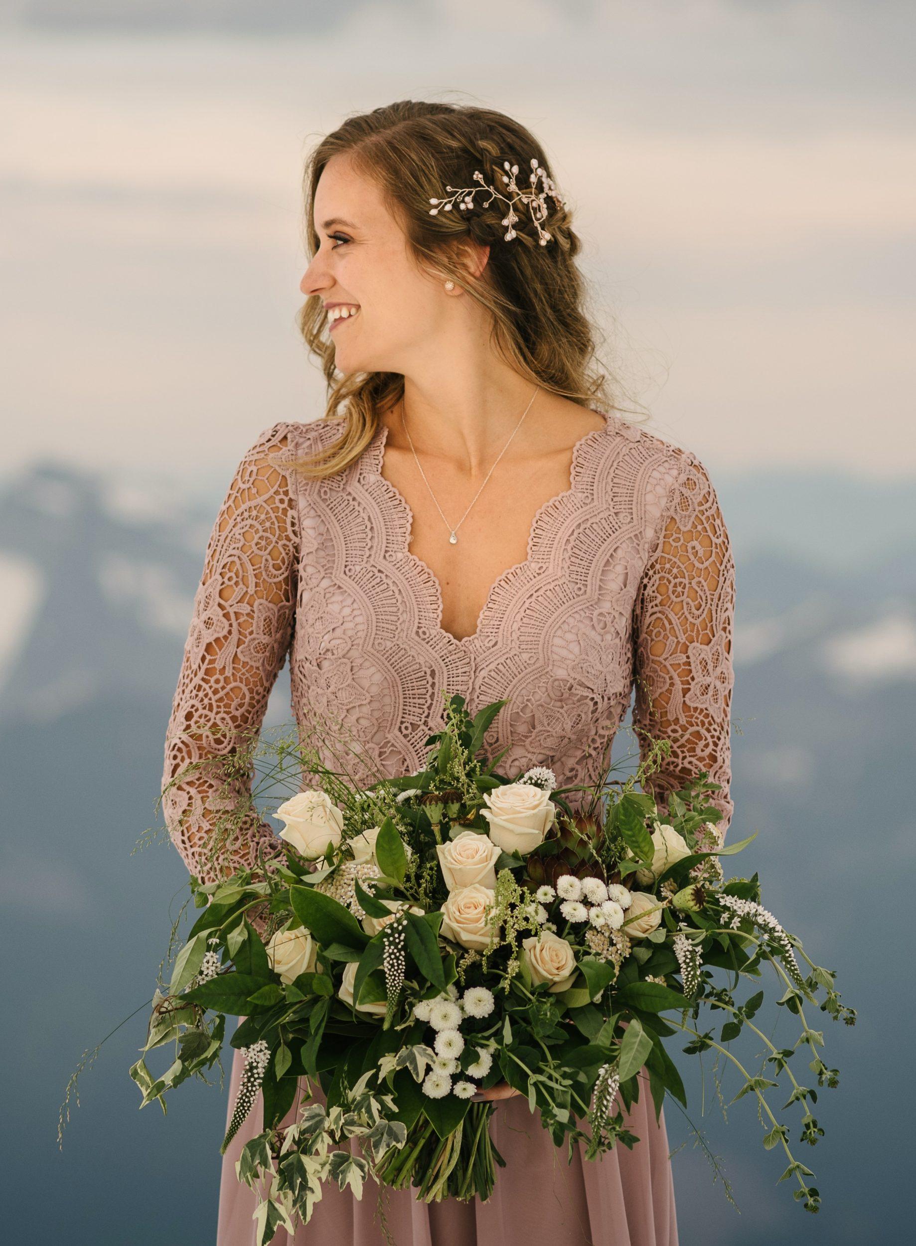 rose gold hair vine side swept hair for wedding