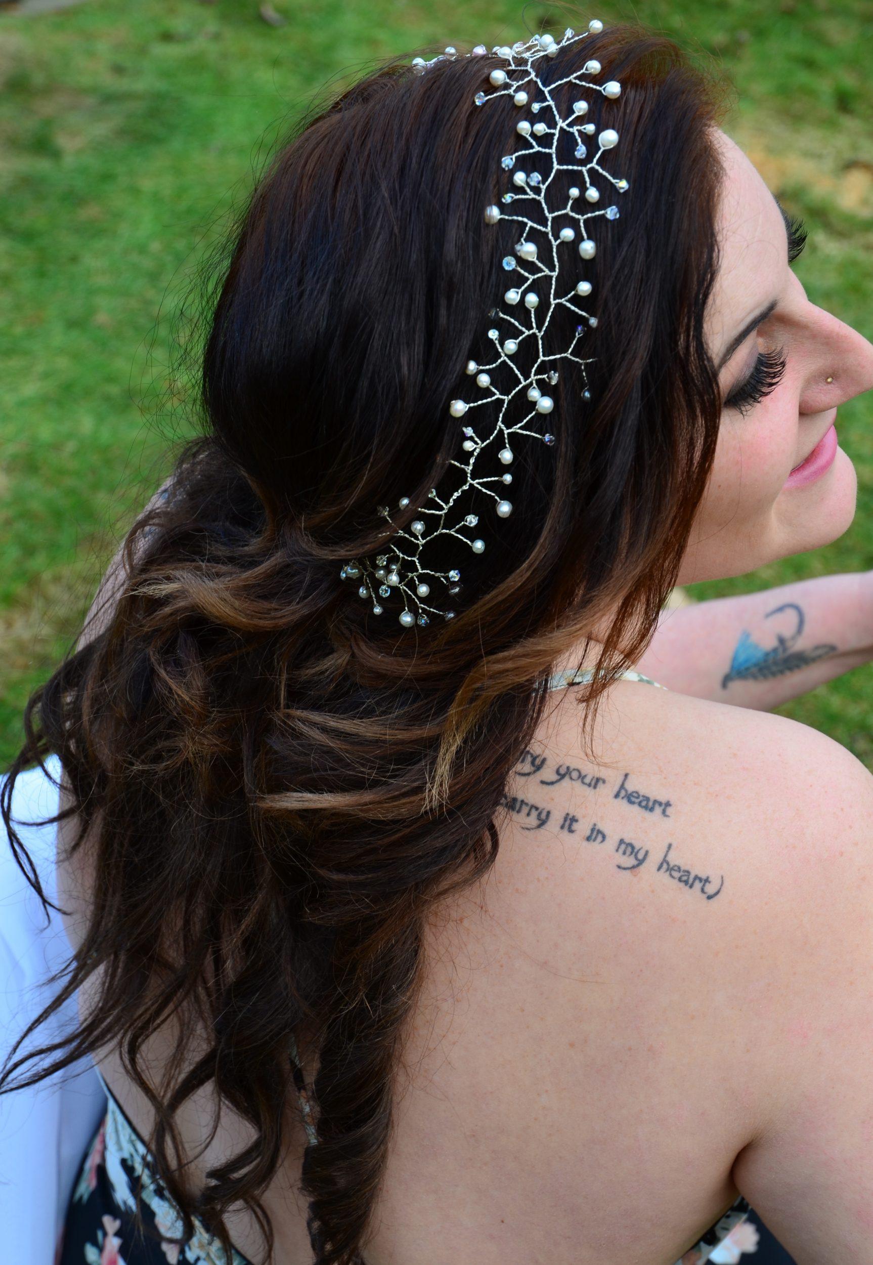 white hair piece for wedding down hairstyle headband