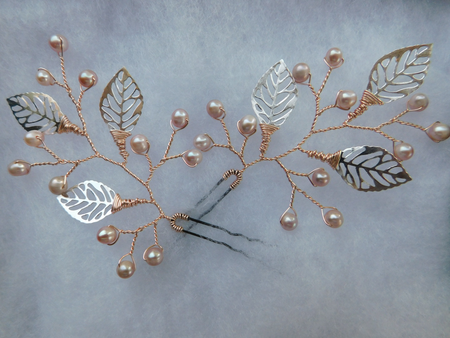 Silver Leaf Hair Pins with Rose Gold Pearls