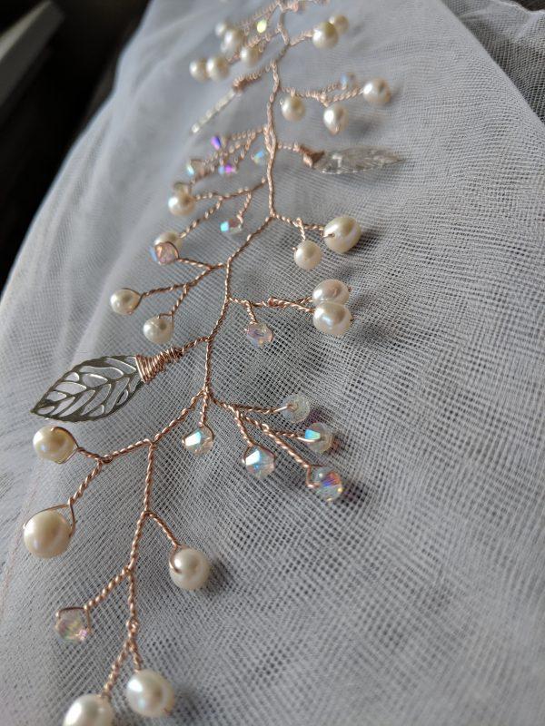 rose gold pearl and leaf hair vine