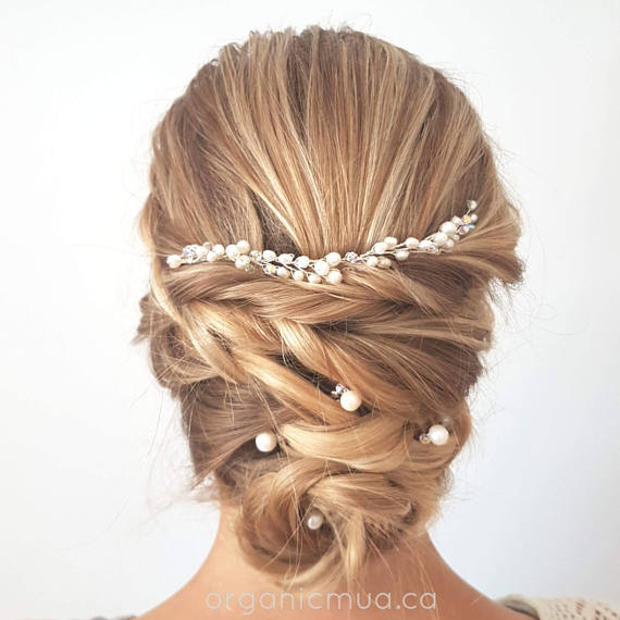 pearl hair vine for wedding west coast jewelry